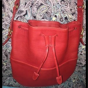 Coach Auth Vintage Red Leather Bucket Bag.